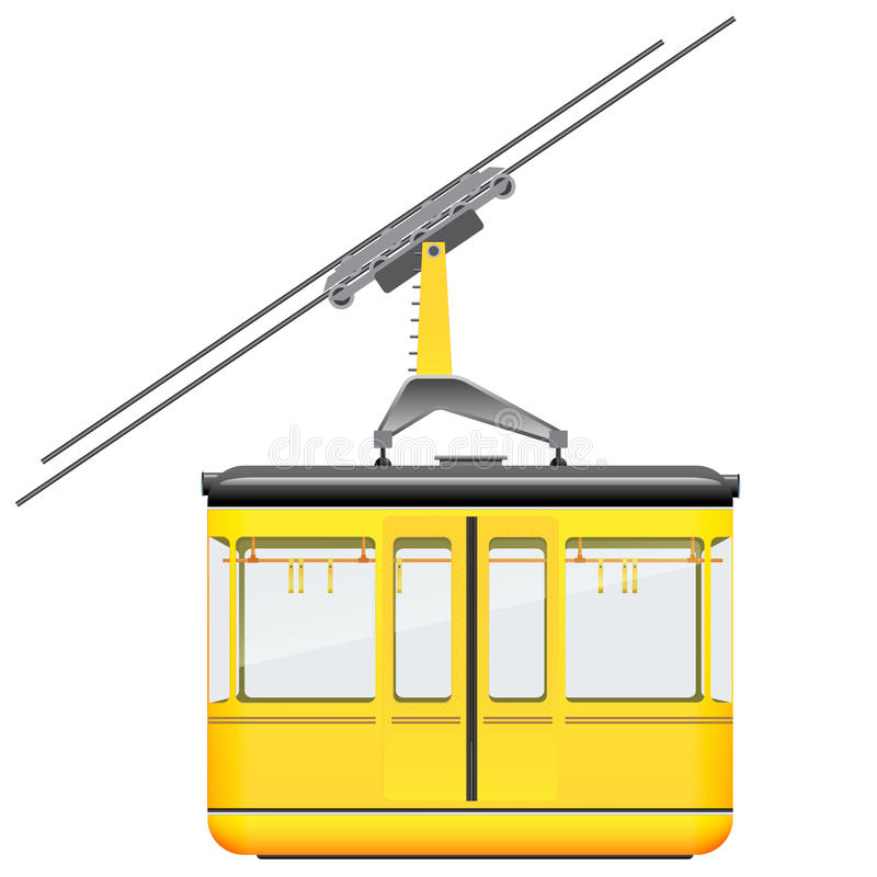 Yellow cableway in high mountains at winter season. vector illustration