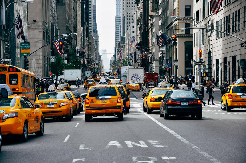 Yellow cabs on Broadway street in Manhattan. royalty free stock photo