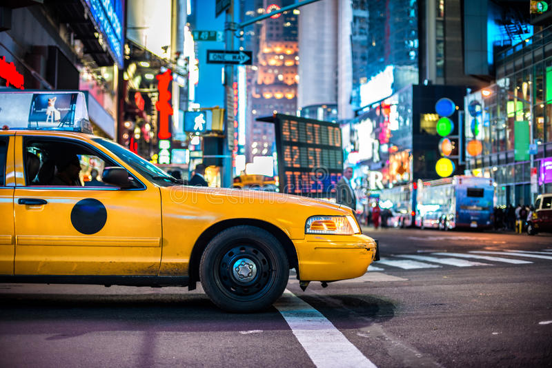 Yellow cabs in Manhattan stock images