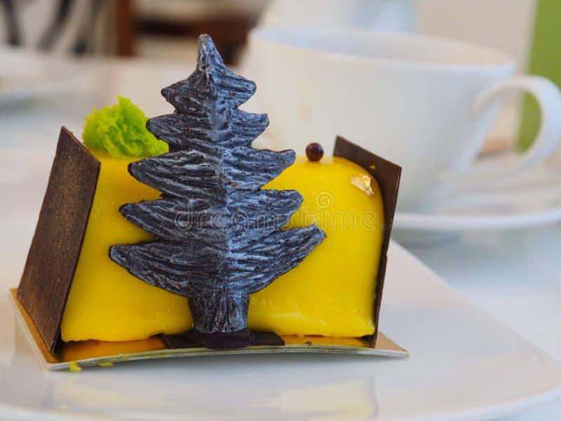 Yellow cake with palm tree royalty free stock photos