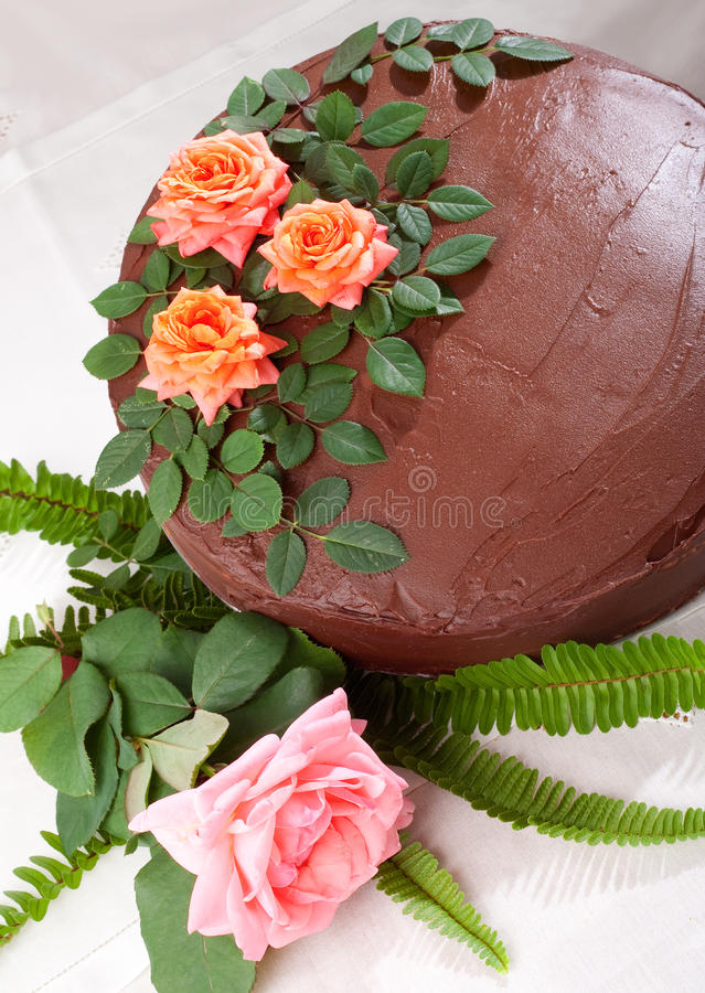 Free Yellow Cake With Chocolate Ganache And Roses Royalty Free Stock Photography - 11210137