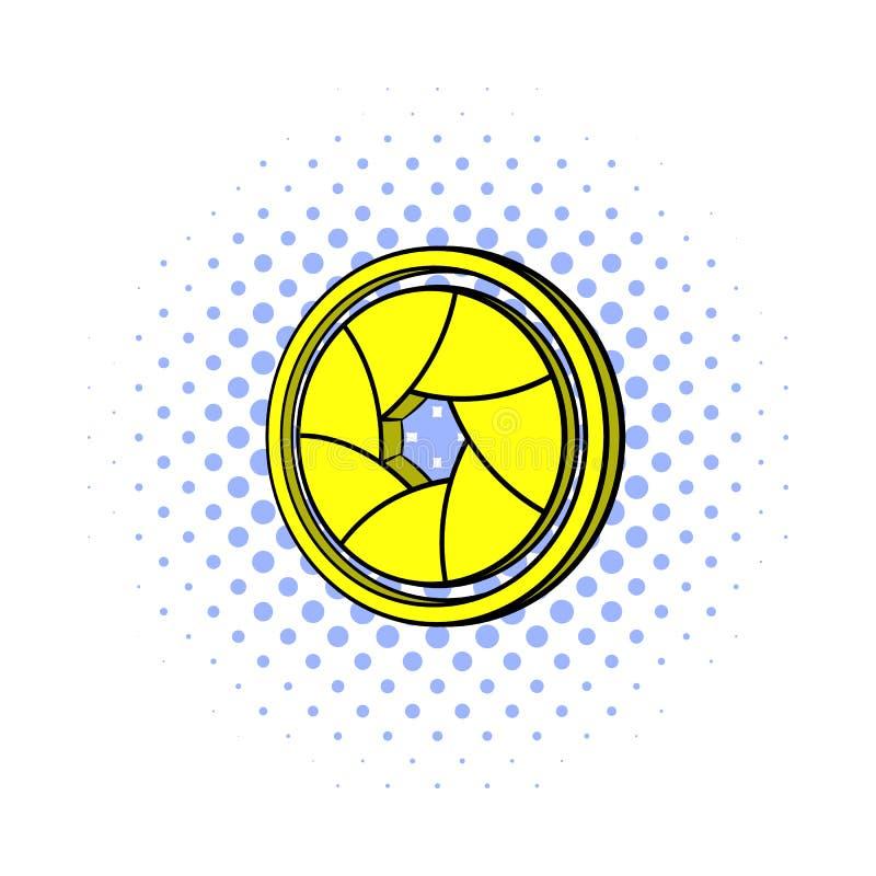 Yellow camera aperture icon, comics style vector illustration