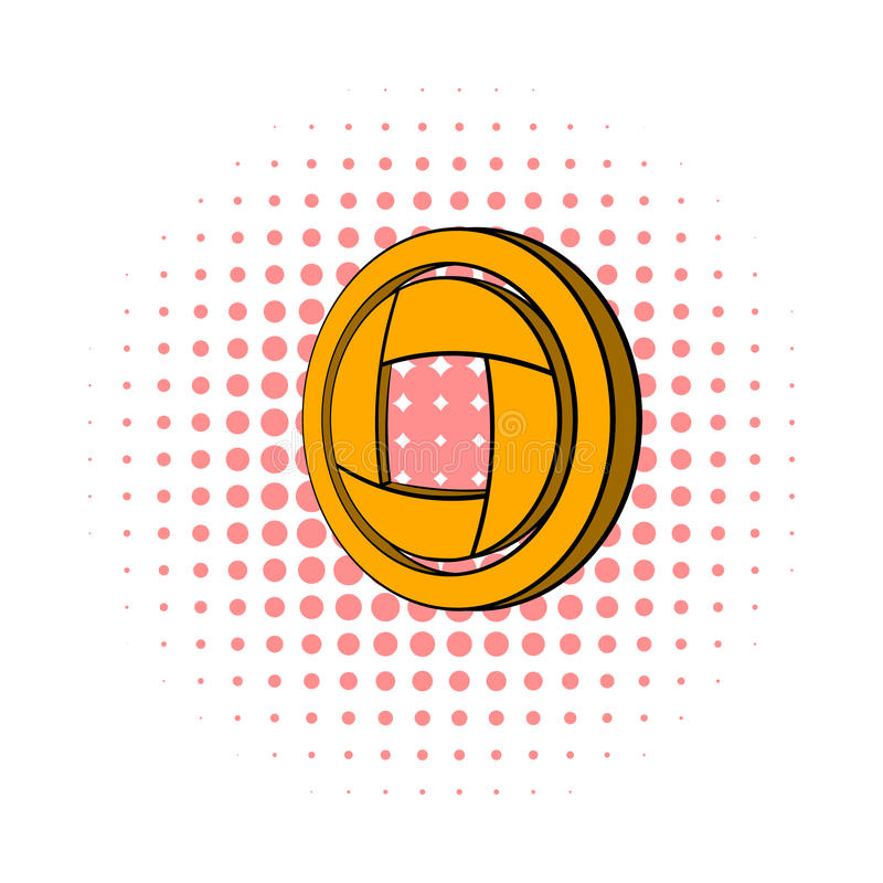Yellow camera aperture icon, comics style royalty free illustration