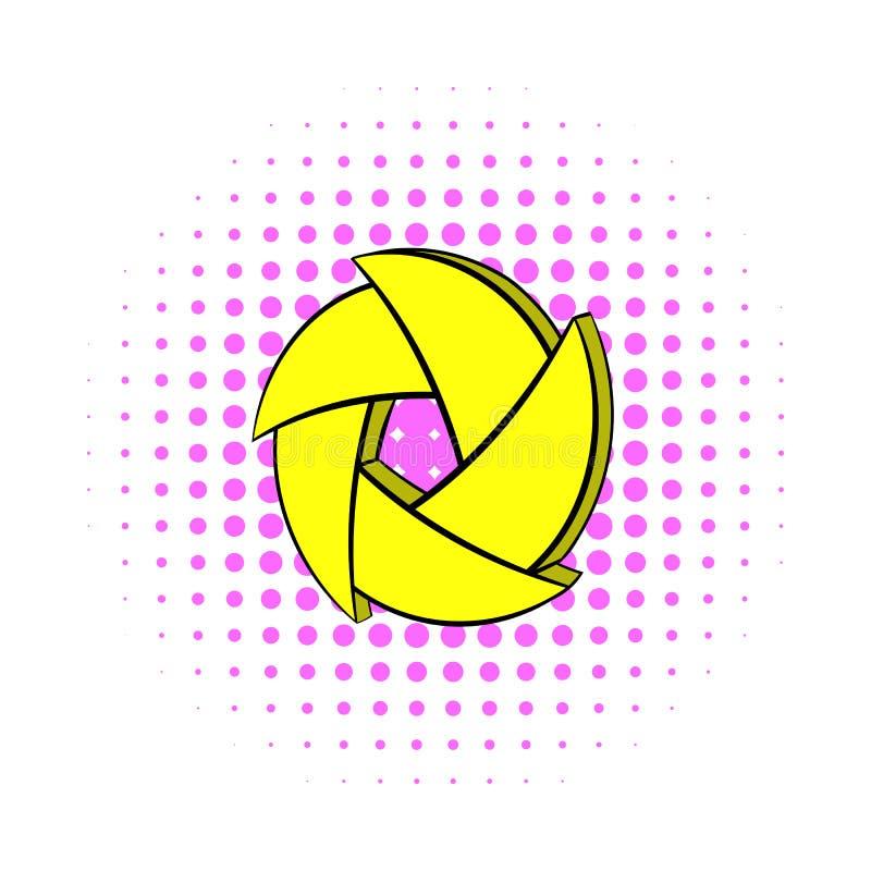 Yellow camera aperture icon, comics style. Yellow camera aperture icon in comics style on a white background royalty free illustration
