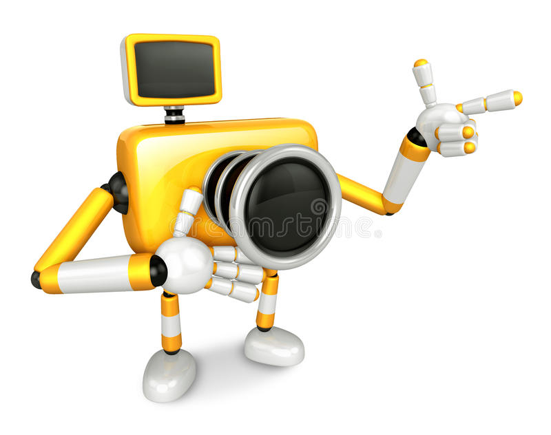 Download The Yellow Camera Character Taking The Right Hand Is The Best Ge Stock Illustration - Image: 33614087