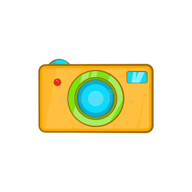 Yellow camera icon in cartoon style vector illustration