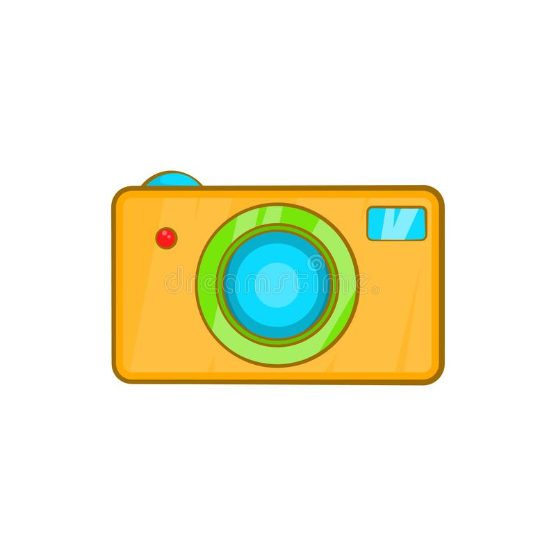 Yellow camera icon in cartoon style vector illustration