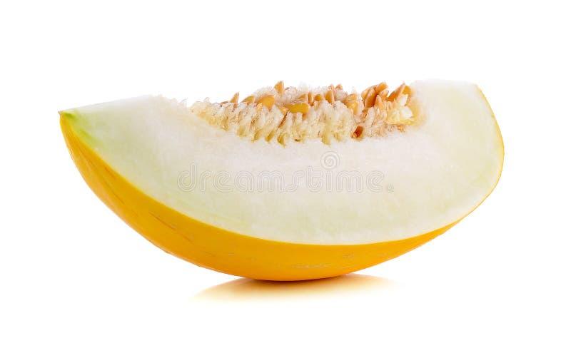 Yellow cantaloupe isolated on the white background.  stock photos