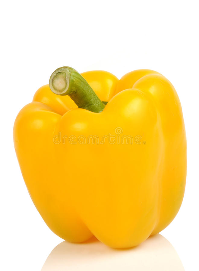 Yellow capsicum. On white background royalty free stock photo