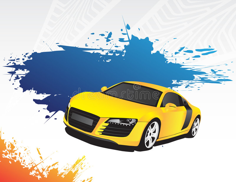 Yellow car and blue splash stock illustration