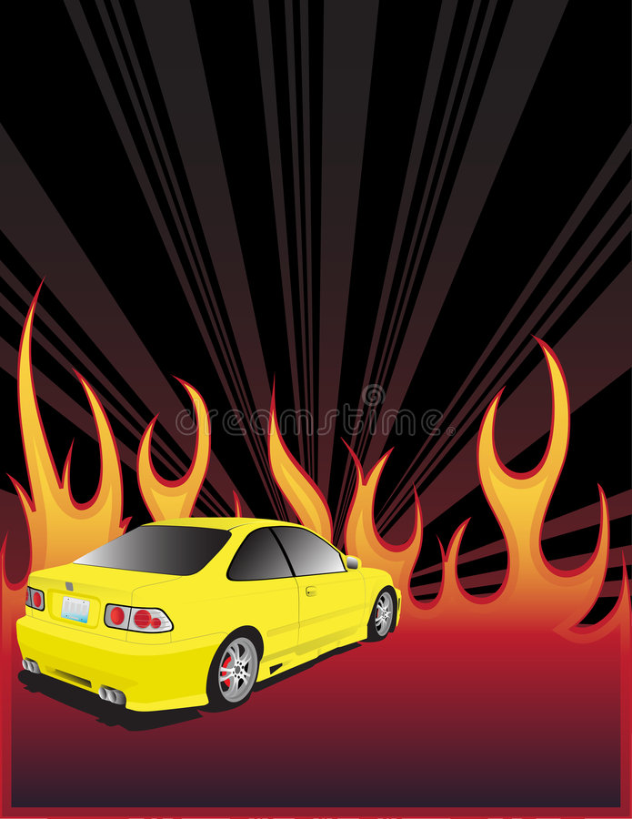 Download Yellow car and fire stock vector. Illustration of fiery - 7329819