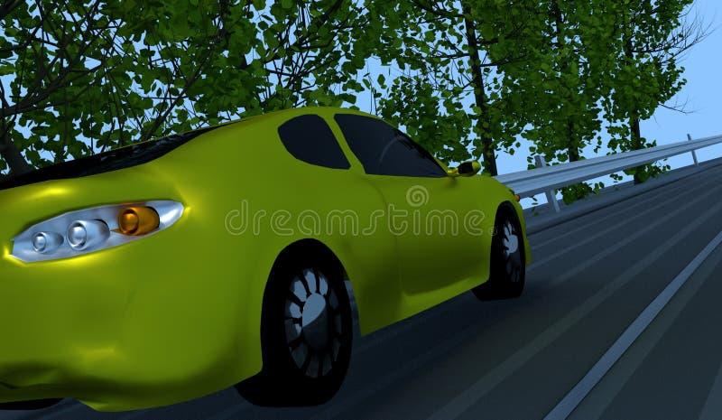 Yellow car going downhill stock photos