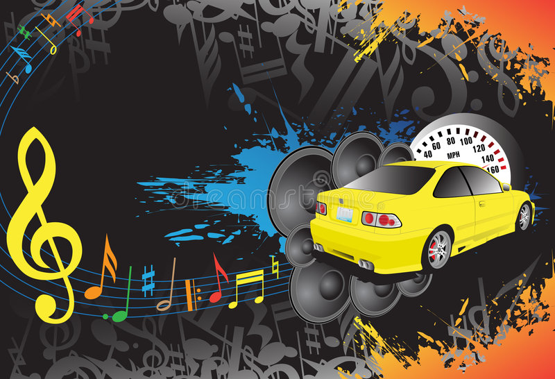 Yellow car and music