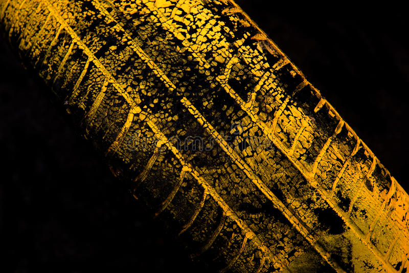 Yellow car tire print royalty free stock images