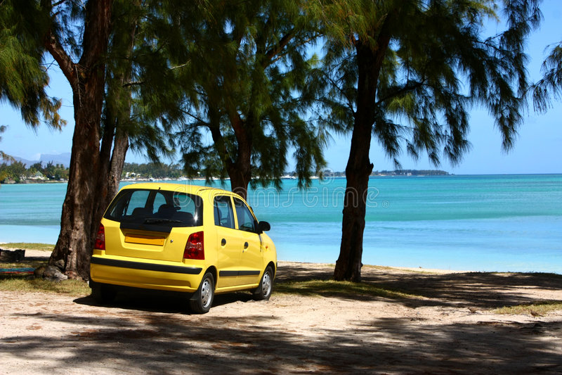 Download Yellow Car On Tropical Beach Stock Photo - Image: 6436320