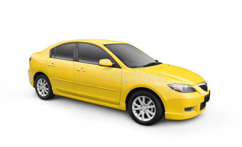 Yellow Car w/ Clipping Path stock photos