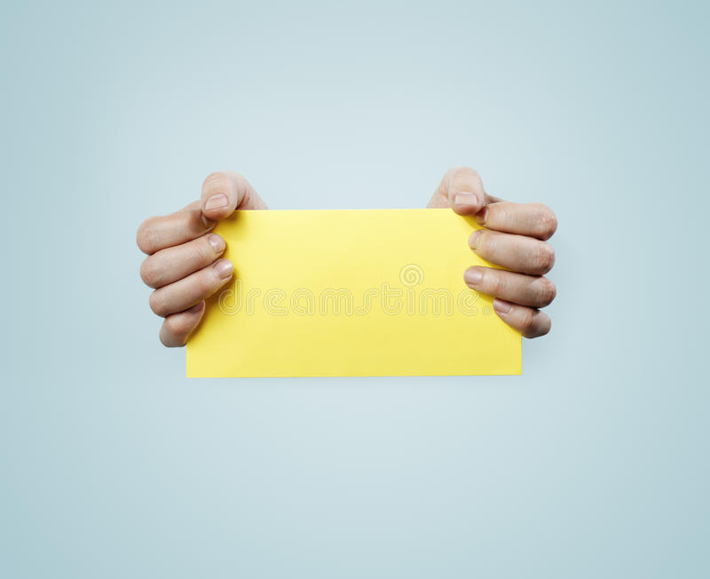 Download Yellow Card stock photo. Image of holds, blank, card - 24920318
