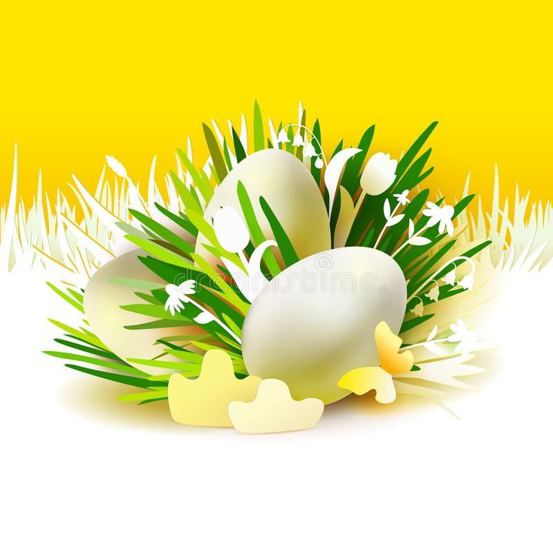 Yellow card with eggs on paper grass stock illustration