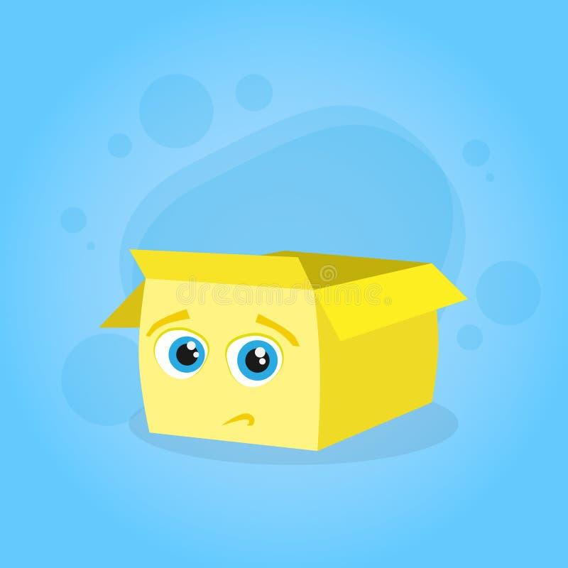 Yellow Cardboard Box Confused Doubtful Cartoon vector illustration