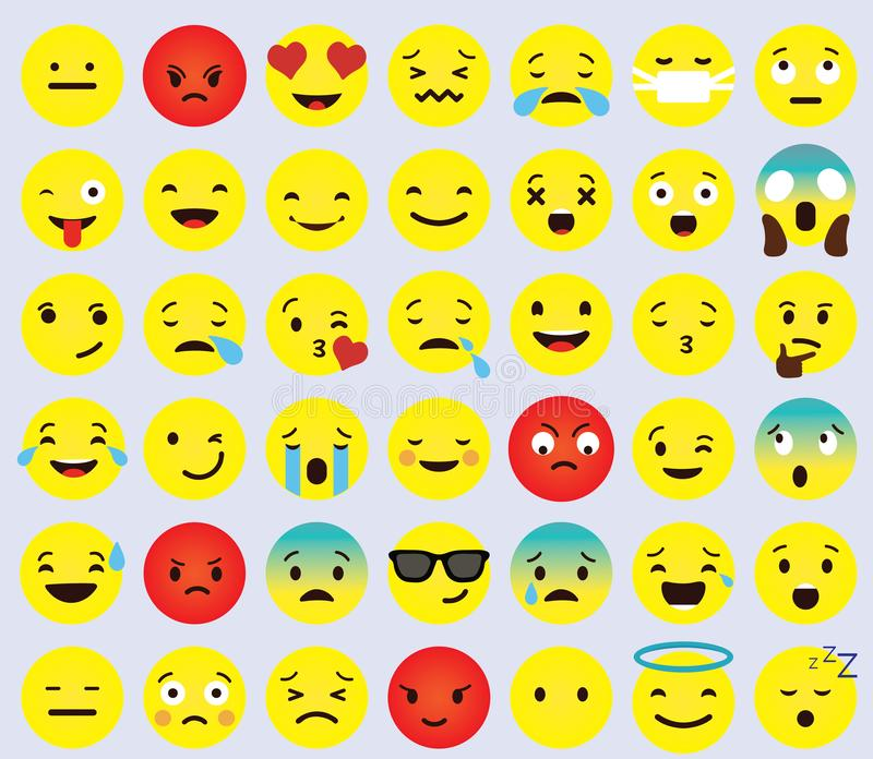 Yellow Cartoon Face Set Emoji People Different Emotion Icon Collection royalty free stock image