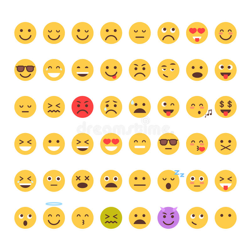 Yellow Cartoon Face Set Emoji People Different Emotion Icon Collection stock illustration