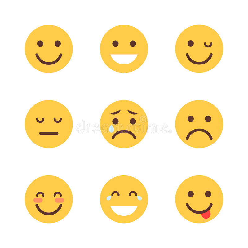 Yellow Cartoon Face Set Emoji People Different Emotion Icon Collection. Flat Vector Illustration royalty free illustration