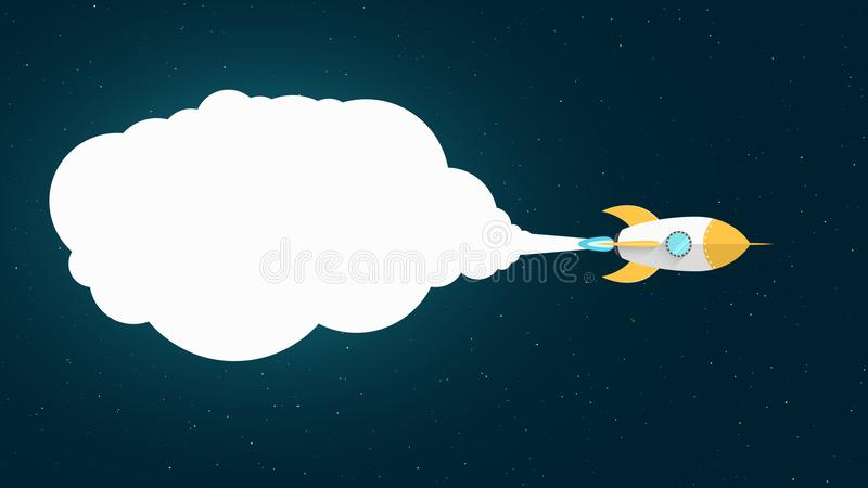 Yellow cartoon missile is flying in space. Space concept. White cloud of smoke. Empty banner for your text. Starry sky. Vector ill vector illustration
