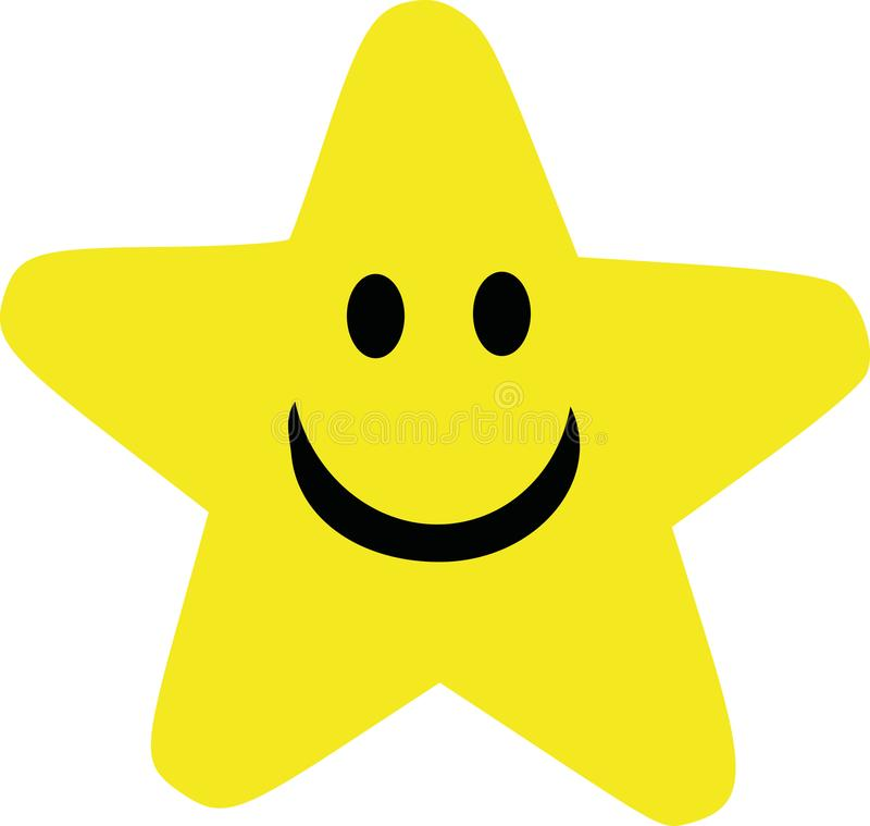 Yellow cartoon star with smiling face. Vector royalty free illustration