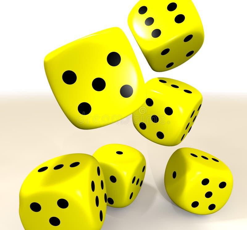 Download Yellow casino dice stock illustration. Illustration of five - 13555117