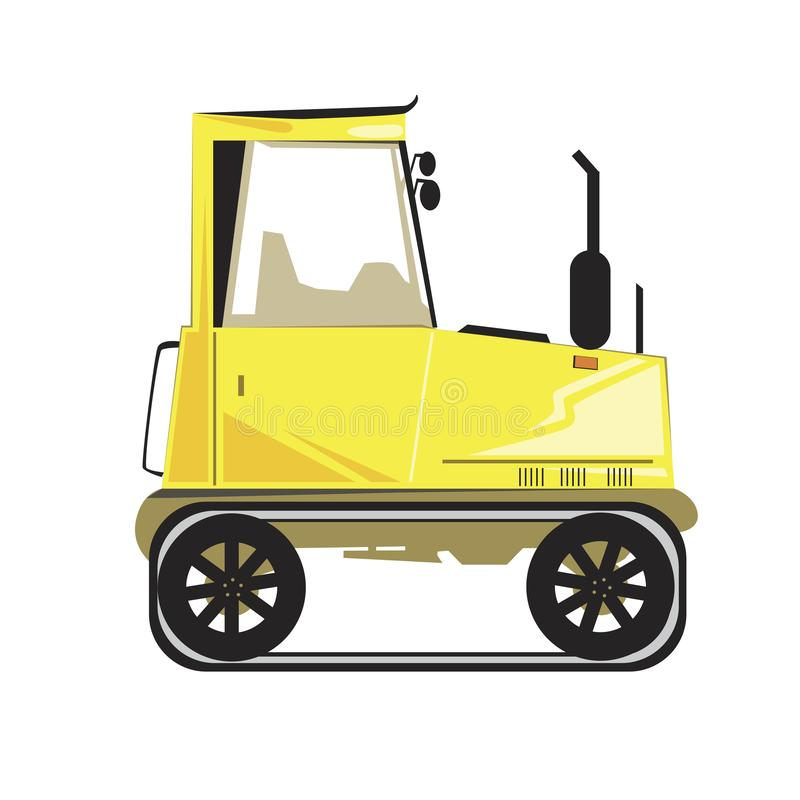 A yellow caterpillar vector tractor with silencer and cab isolated on white background stock illustration