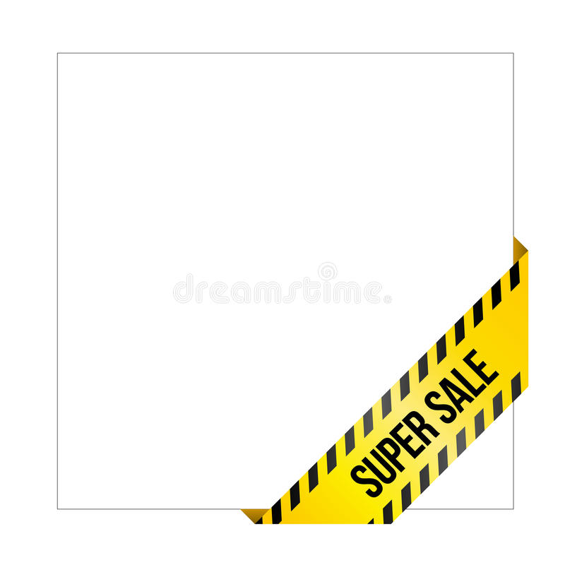 Yellow caution tape with words `Super Sale`, corner label stock illustration