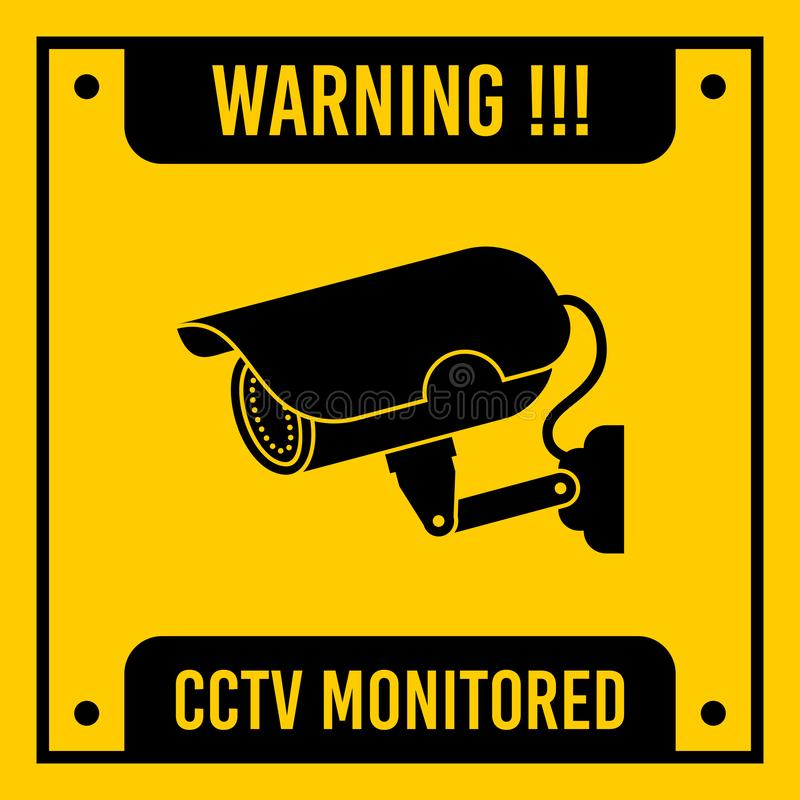 Yellow CCTV monitored, vector sign. stock illustration