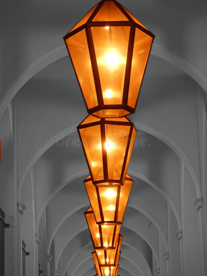 Yellow Ceiling Lamp On Hallway Free Public Domain Cc0 Image