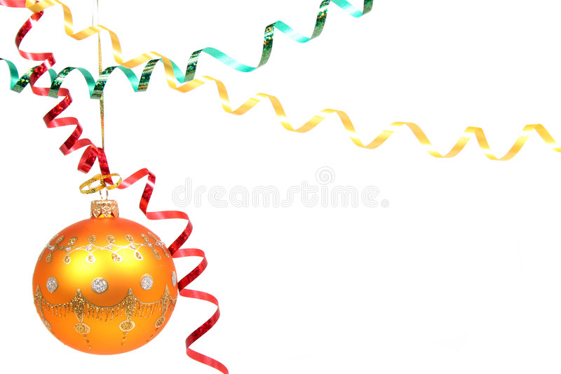 Yellow celebratory sphere and multi-coloured streamer 3 royalty free stock photo