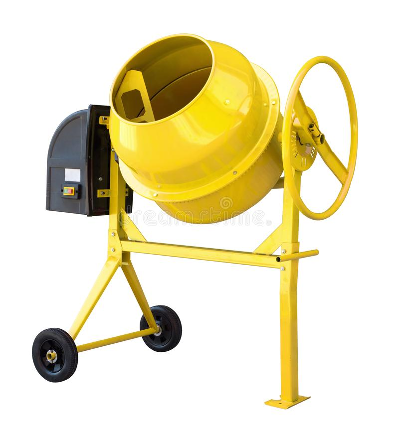 Yellow cement mixer isolated on white with clipping path included royalty free stock images