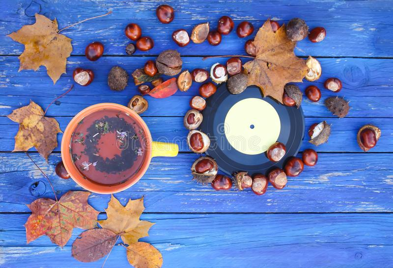 Yellow cup of herbal tea and vintage vinyl records on aged wooden background with fall autumn leaves and chestnuts. royalty free stock images