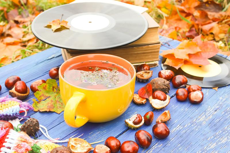 Yellow ceramic cup of herbal tea and vintage vinyl records on aged wooden background with fall autumn leaves and chestnuts. Acoustic, aesculus, autumnal stock images