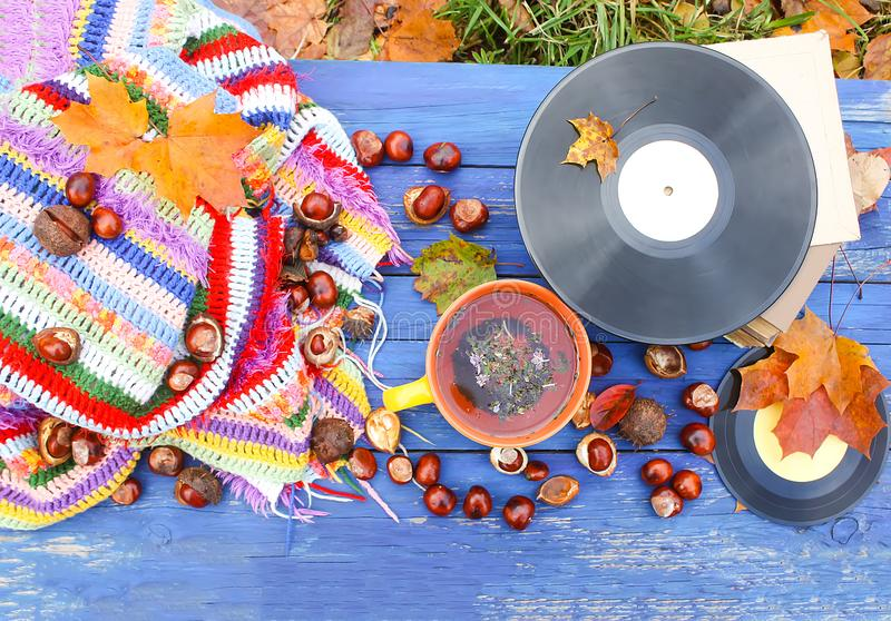 Yellow ceramic cup of herbal tea and vintage vinyl records on aged wooden background with fall autumn leaves and chestnuts. Acoustic, aesculus, autumnal royalty free stock photos