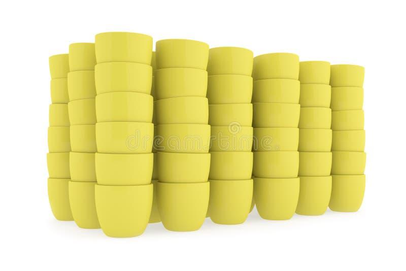 Yellow Ceramics Flowerpot Set, Rendered Models Royalty Free Stock Photos