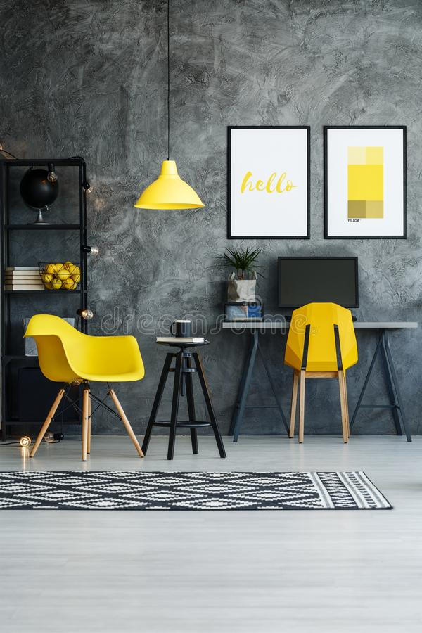 Stylish home office with stool stock image