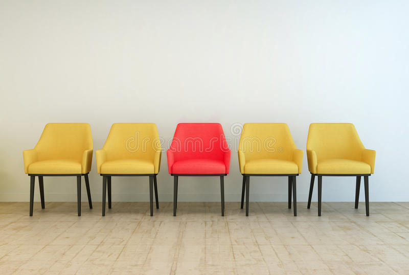 Yellow chairs aligned with a red one in the middle. Row of yellow empty chairs aligned against a grey wall of a lobby or a waiting room, with a red one in the stock illustration