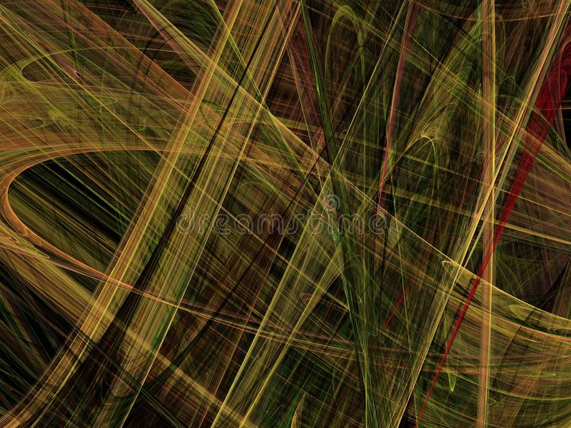 Yellow chaotic overlapping filaments in the form of an abstract fractal royalty free stock photography