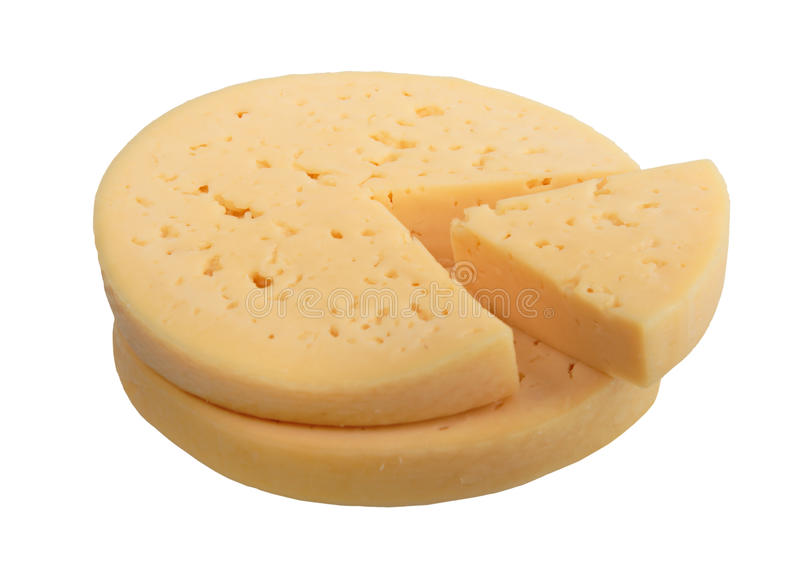 Yellow Cheese Of Circle Form With Sector Part. Stock Image