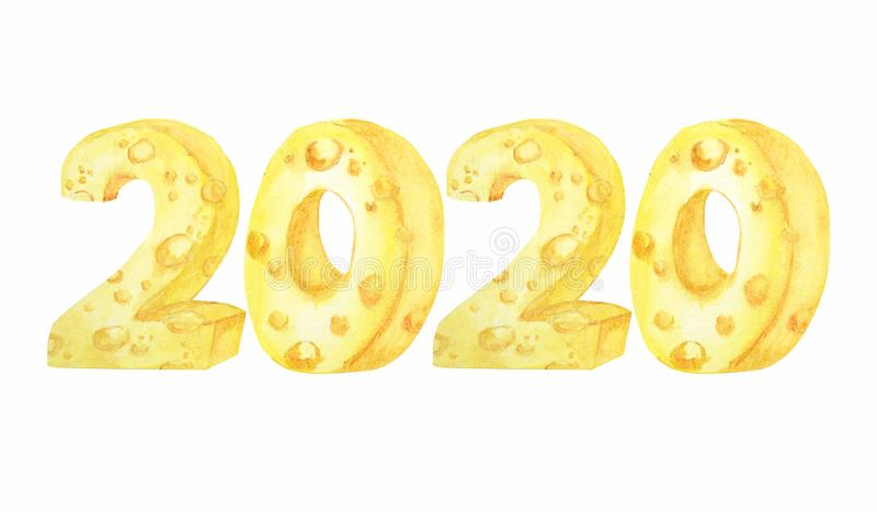 2020 cheese font. Hand drawn watercolor illustration. Happy Chinese rat new year royalty free illustration