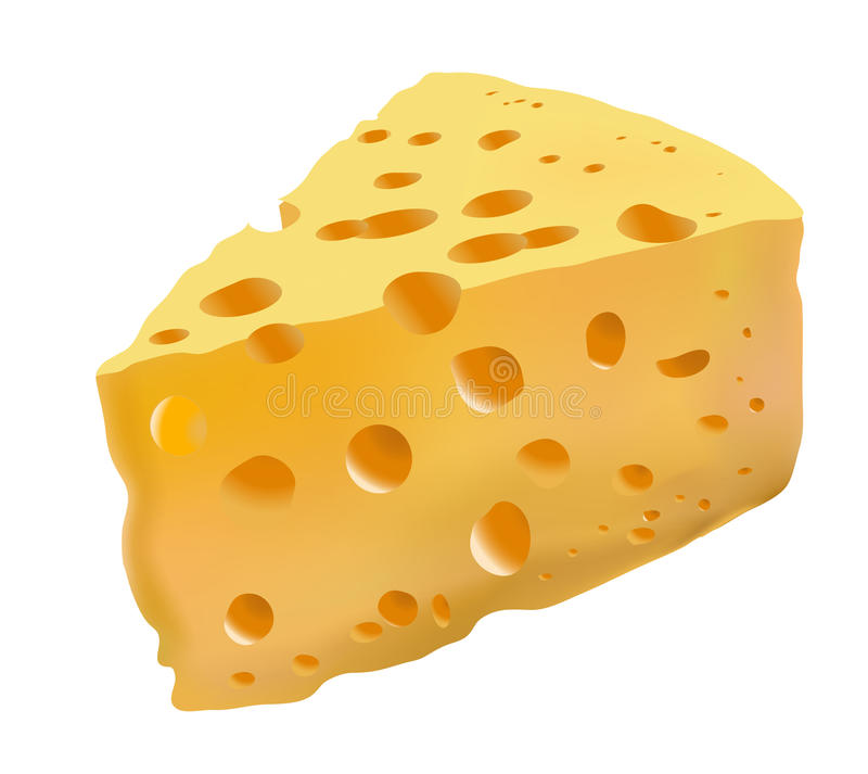 Yellow cheese with holes royalty free illustration