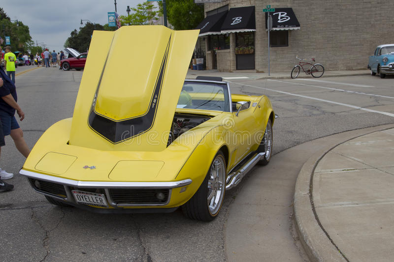 Yellow 1968 Chevy Corvette Roadster Front View. WINNECONNE, WI - JUNE 1: Front of a Yellow 1968 Chevy Corvette Roadster car at Annual Car Show on Main Street stock images