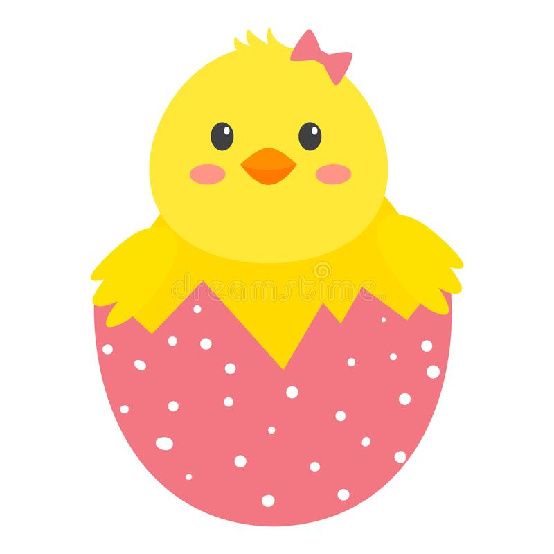 Yellow chichen in pink shell with white dots stock illustration