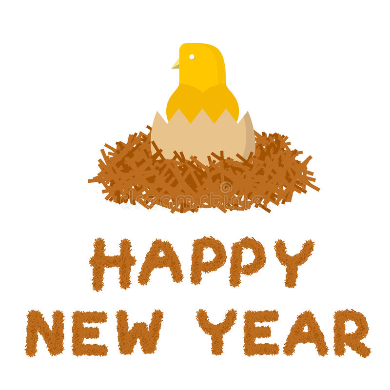 Yellow chick born in haystack and happy new year text stock illustration