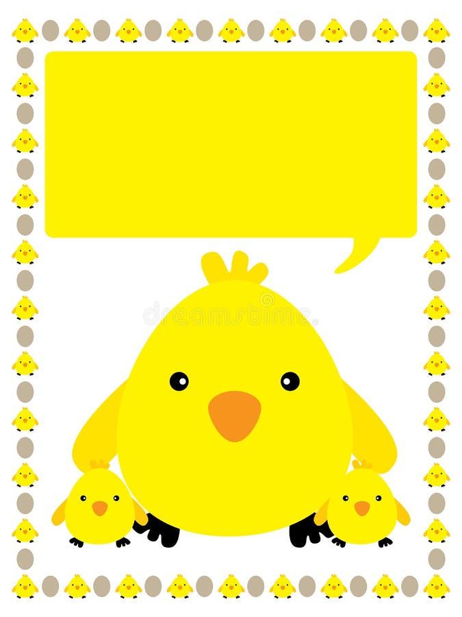 Yellow chicken frame vector illustration