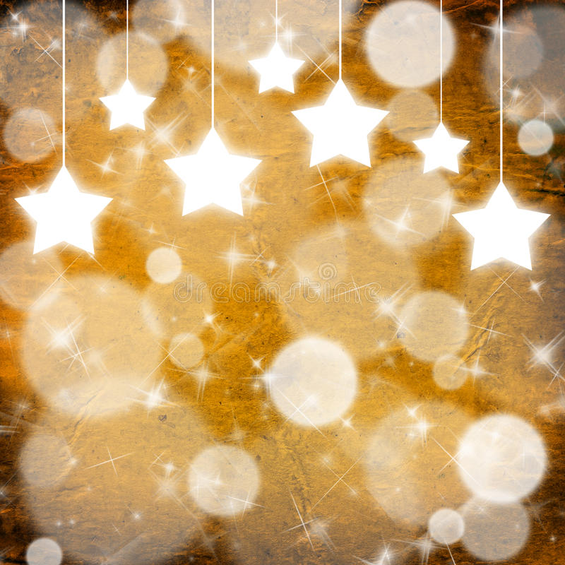 Yellow Christmas background with stars. Close up stock image